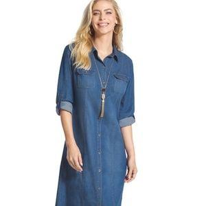 NWOT Chicos Womens Denim Shirt Maxi Dress Long